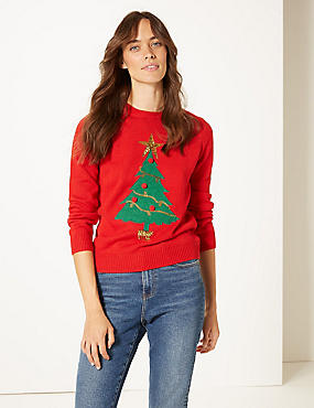 Customisable Christmas Tree Jumper, RED MIX, catlanding