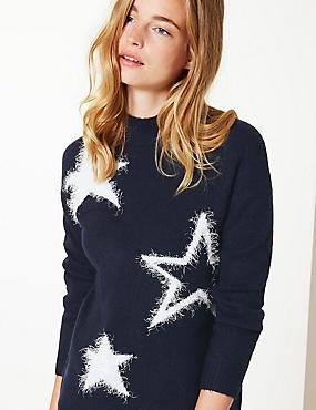 Star Funnel Neck Christmas Jumper, NAVY MIX, catlanding