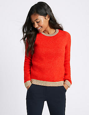 Metallic Trim Round Neck Jumper