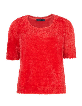 Round Neck Fluffy Knitted T-Shirt Clothing