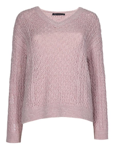 Multi Stitch V-Neck Jumper with Wool