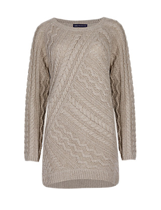 Cable Knit Longline Jumper with Wool Clothing