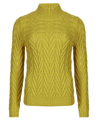Cheveron Stitch Polo Neck Jumper with Wool Clothing