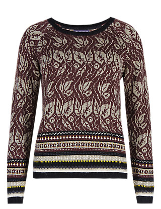 Floral Jacquard Jumper with Wool Clothing