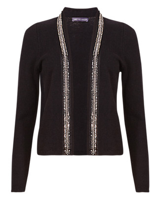 Open Front Embellished Cardigan with Wool Clothing