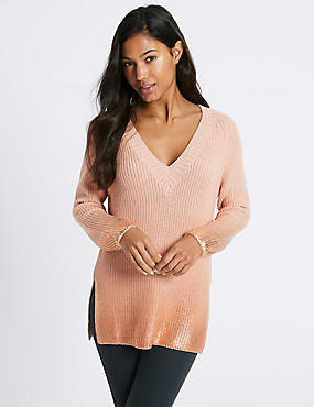 Cotton Blend V-Neck Longline Jumper