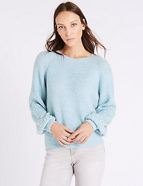Textured Round Neck Pearl Sleeve Jumper