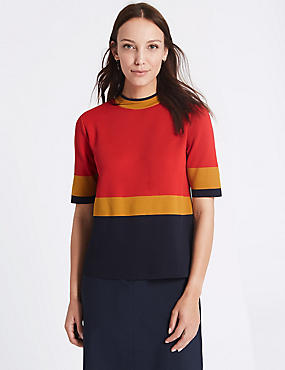 Colour Block Turtle Neck Half Sleeve Jumper