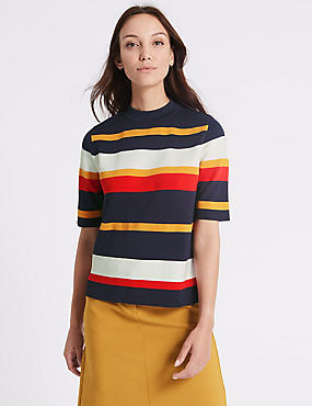 Striped Turtle Neck Half Sleeve Jumpers