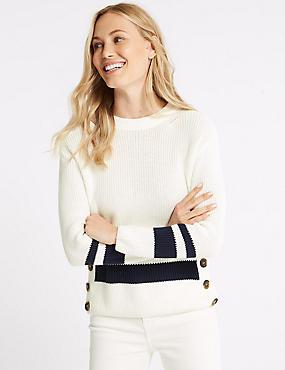 Cotton Blend Striped Long Sleeve Jumper, WHITE MIX, catlanding