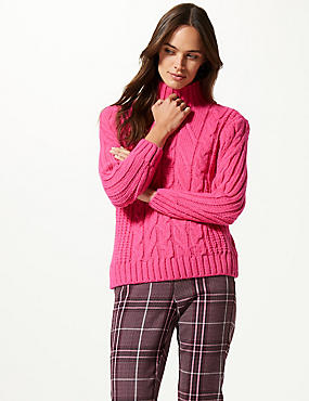 Cable Knit Funnel Neck Jumper  , VERY PINK, catlanding