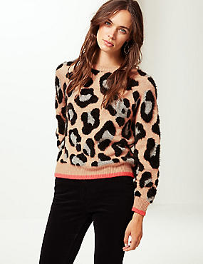 Animal Print Round Neck Jumper , OATMEAL MIX, catlanding