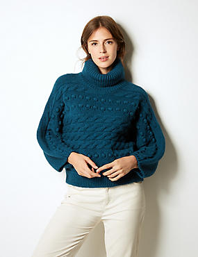 Cable Knit Roll Neck Jumper, DARK MARINE, catlanding