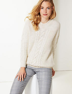 Textured Hooded Cable Knit Jumper, CREAM, catlanding
