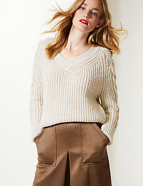 Cable Knit Sleeve V-Neck Jumper, OATMEAL, catlanding