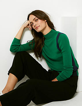 Colour Block Funnel Neck Jumper  , GREEN MIX, catlanding