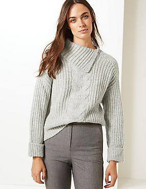 Split Neck Cable Jumper, GREY MARL, catlanding
