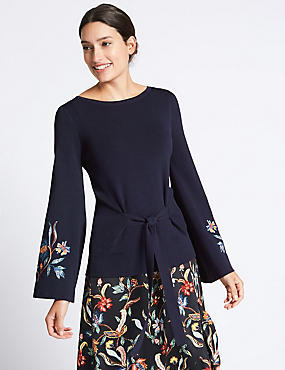 Tie Front Embroidered Sleeve Jumper