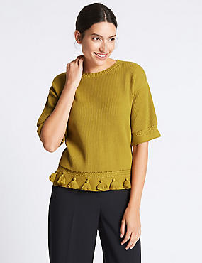 Pure Cotton Ribbed Tassel Round Neck Jumper