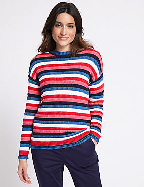 Pure Cotton Striped Round Neck Jumper , MULTI, catlanding