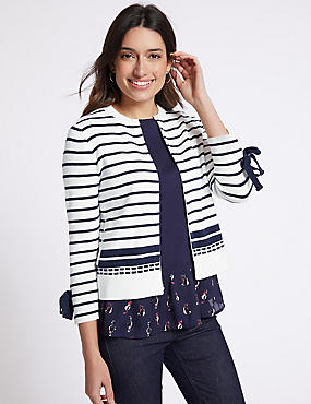 Pure Cotton Striped Cuff Tie Cardigan