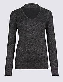 Textured Choker V-Neck Jumper