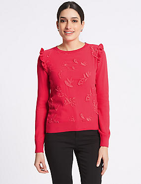 Pure Cotton Embroidered Chiffon Front Jumper, BRIGHT RED, catlanding