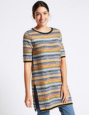 Cotton Blend Striped Tunic Jumper