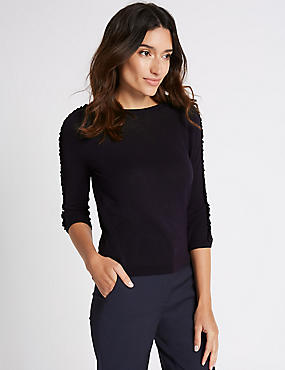 Lace Applique Round Neck 3/4 Sleeve Jumper