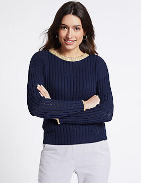 Cotton Rich Contrasting Hem Jumper, DARK NAVY, catlanding