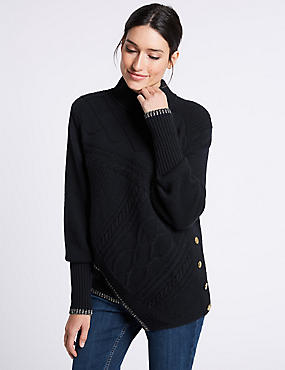 Textured Asymmetric Hem Turtle Neck Jumper