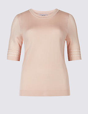 Textured Round Neck Half Sleeve Jumper, POWDER PINK, catlanding