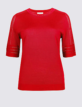Textured Round Neck Half Sleeve Jumper, CHERRY RED, catlanding