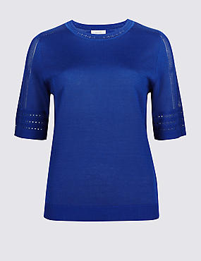 Textured Round Neck Half Sleeve Jumper, ROYAL, catlanding