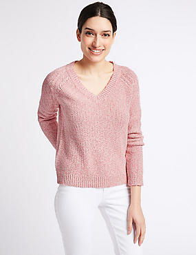 Cotton Blend Textured V-Neck Jumper , POWDER PINK, catlanding