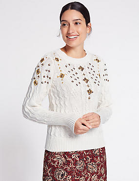 Cotton Blend Embellished Cable Knit Jumper