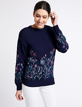 Pure Cotton Embroidered Look Print Jumper, DARK MIDNIGHT, catlanding