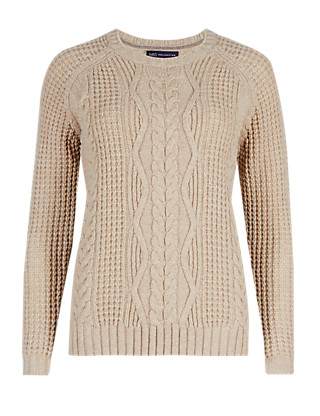 Pure Lambswool Cable Knit Jumper Clothing