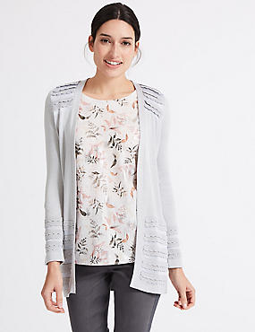 Open Front Scallop Cardigan, SILVER GREY, catlanding