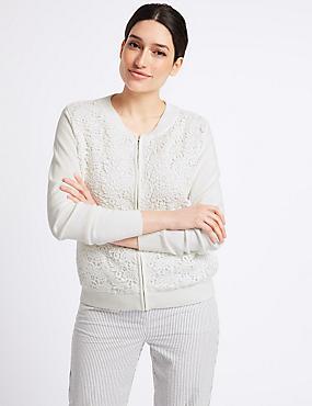 Pure Cotton Lace Long Sleeve Cardigan, SOFT WHITE, catlanding