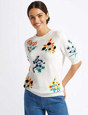 Pure Cotton Embroidered Round Neck Jumper , SOFT WHITE, catlanding