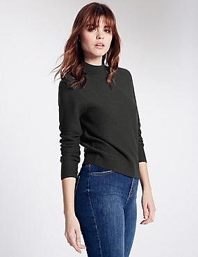 Rib Knit Turtle Neck Jumper