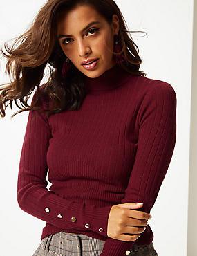 Ribbed Button Detail Funnel Neck Jumper, DARK BURGUNDY, catlanding