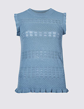 Textured Round Neck Jumper, AZURE BLUE, catlanding