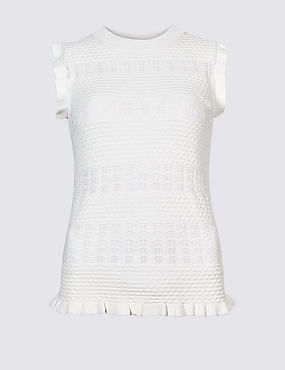 Textured Round Neck Jumper, SOFT WHITE, catlanding