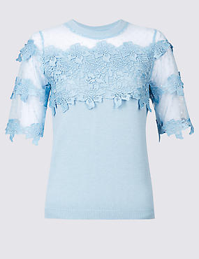 Cotton Bend Lace Round Neck Jumper , CHINA BLUE, catlanding