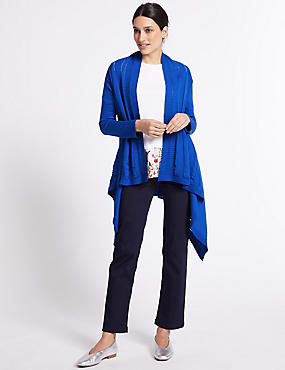 Pure Cotton Textured Open Front Cardigan