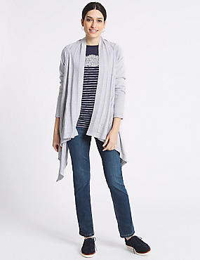 Pure Cotton Textured Waterfall Cardigan, GREY, catlanding