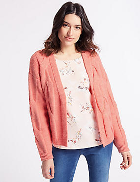 Cable Knit Long Sleeve Cardigan, SUNSET, catlanding