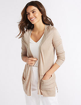 Textured Long Sleeve Cardigan, LIGHT PUTTY, catlanding